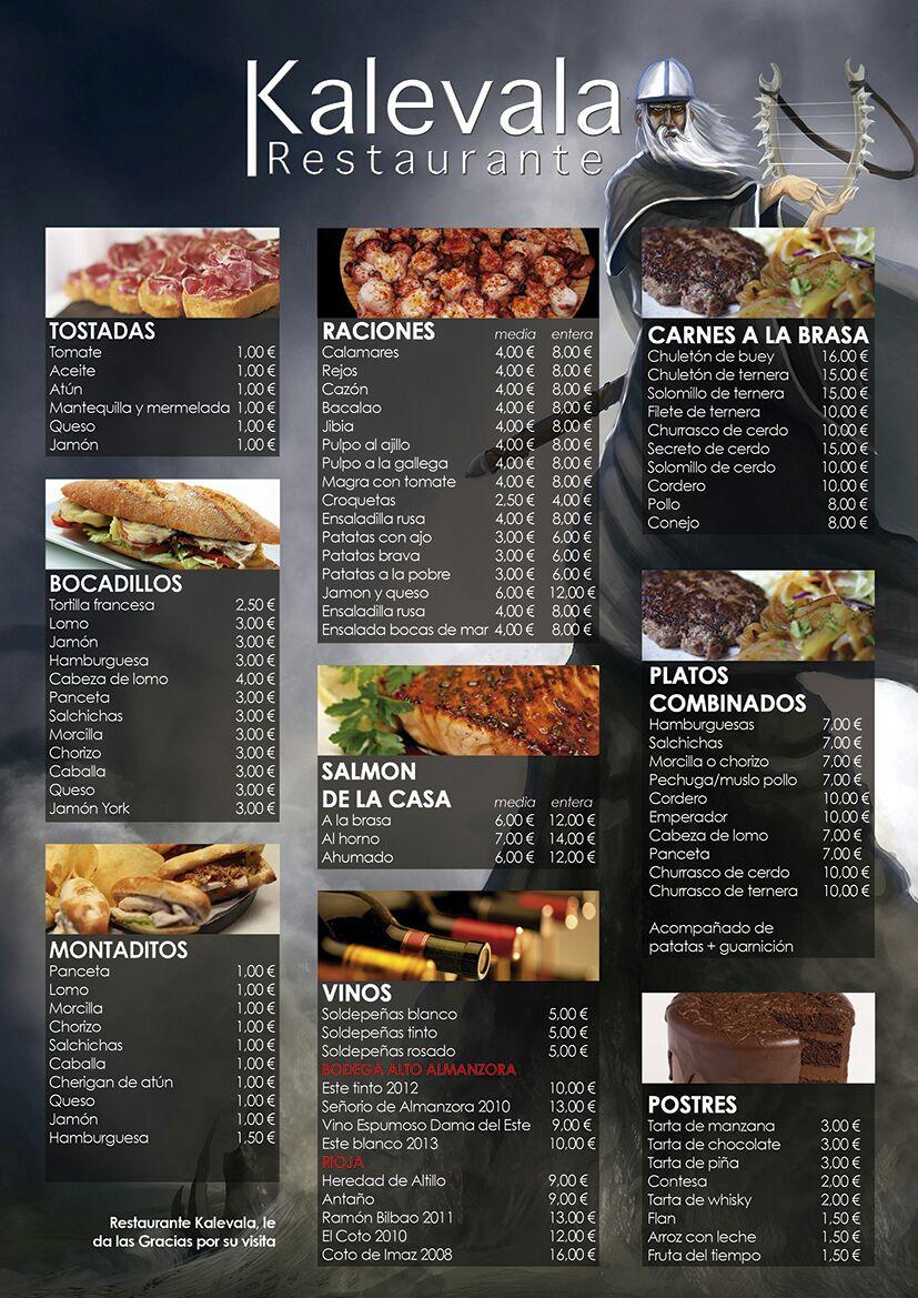 carta restaurante kalevala español