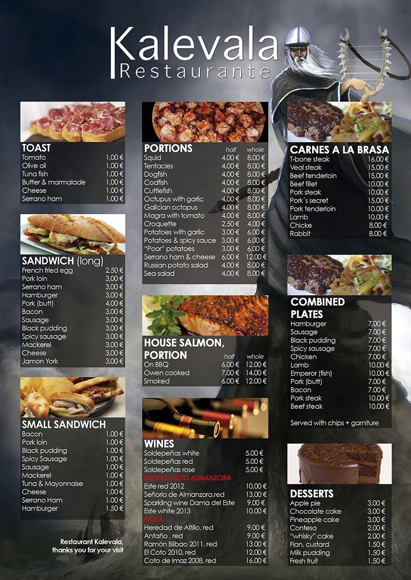 carta restaurante kalevala ingles