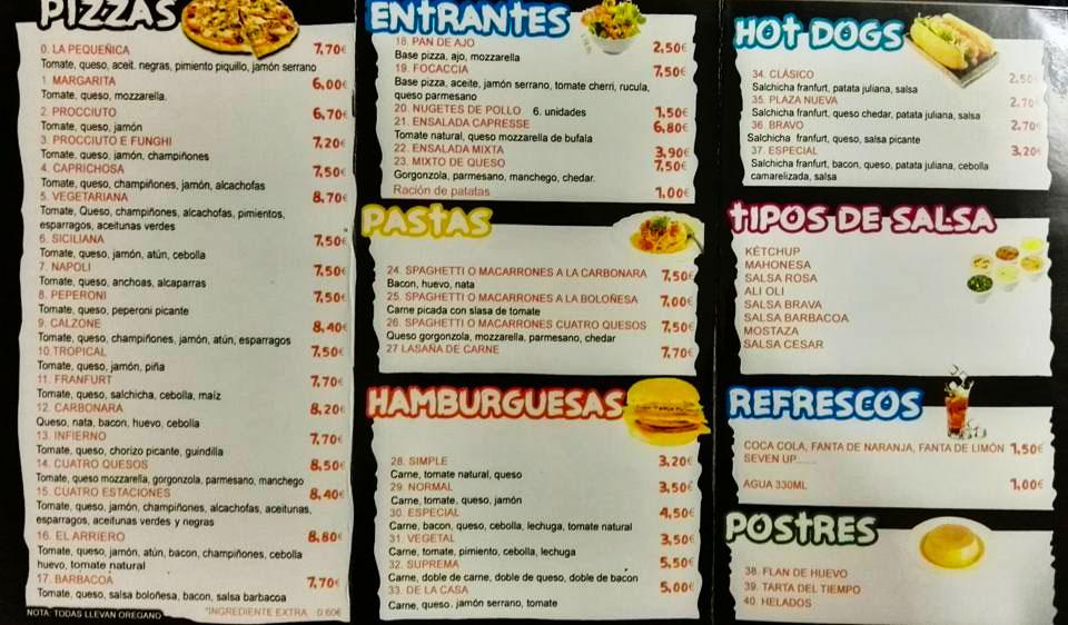 banner carta pitza burgers