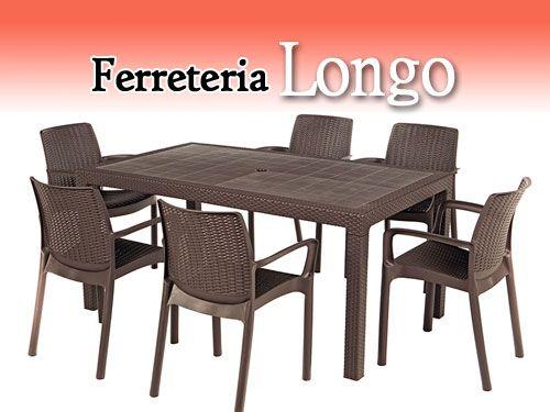 Conjunto exterior mesa de resina y 6 sillas por for Conjunto mesa y sillas exterior
