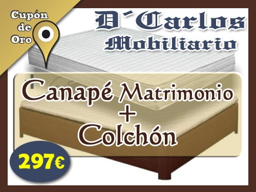 Canap matrimonio colch n por s lo 297 euros en d carlos for Oferta canape mas colchon