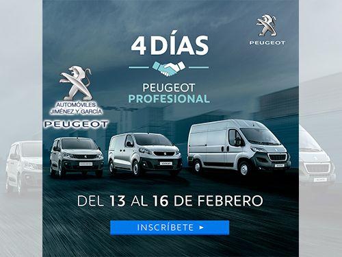 4 Días Peugeot Profesional. Grandes ofertas para turismos y comerciales. En tu concesionario Automóviles Jiménez y Garcia-Peugeot de Albox