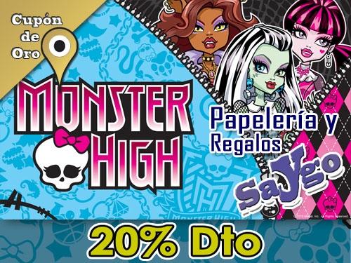 20% descuento en artículos Monster High en Papelería y Regalos Saygo de Albox