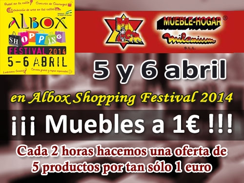 Muebles y decoración por 1 euro!! Cada 2 horas oferta 5 productos por tan sólo 1 euro. 5 y 6 de abril Mueble Hogar Milenium en Albox