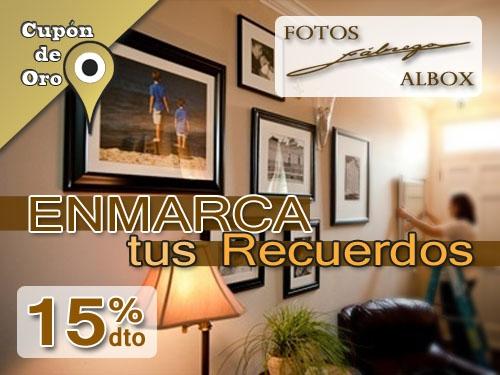 Enmarca tus fotografias, pinturas, títulos,.... con un 15% de descuento en Fotos Fabrega Albox.