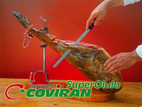 Pack Paleta Serrana Deoro pieza + Cuchillo + Afilador por 17.95€. Super Olula Covirán, supermercados en Olula del Río