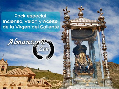 Pack especial Incienso, Velón y Aceite de la Virgen del Saliente por solo 9€ en Almanzora Zen, productos esotéricos en Albox