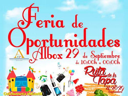 Ruta de la Tapa del 27 al 29 de Septiembre en Albox y Feria de Oportunidades el 29 septiembre