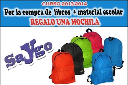 Por la compra de libros y material escolar, una MOCHILA de REGALO en Papelería y Regalos Saygo de Albox.