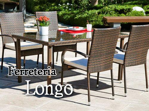 Conjunto exterior mesa con cristal y 4 sillas en for Oferta sillas jardin