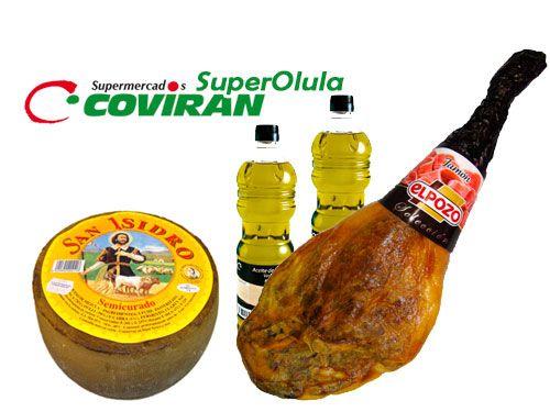 Lote: Jamón ElPozo + Queso + 2 Botellas de Aceite Virgen extra, por 63€. Super Olula Covirán, supermercados en Olula del Río