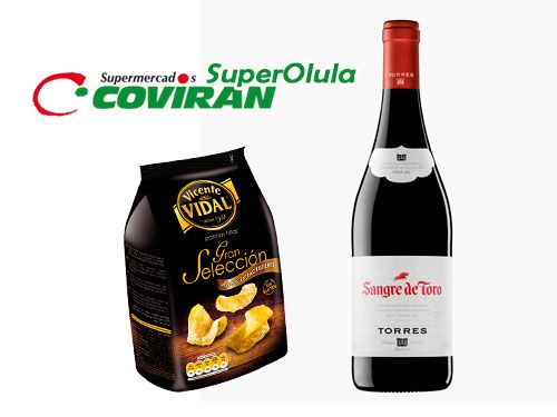Vino Torres, Sangre de Toro + Patatas Vidal Gran Selección. Super Olula Covirán, supermercados en Olula del Río