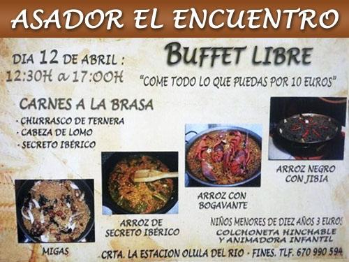 Buffet Libre por 10 euros el 12 Abril en Asador El Encuentro de Olula del Río. Y colchoneta hinchable, animadora infantil...para que vengas con tus niños!