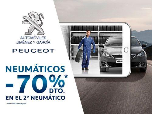 70% descuento en el 2º Neumático con Automóviles Jiménez y Garcia-Peugeot de Albox