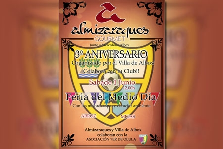 Ven al 3º aniversario organizado por el Club Villa de Albox y toma una caña de la mejor cerveza de la comarca en Almizaraques