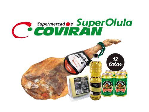 Lote: Pieza Jamón Reserva + Aceite Oliva + 12 Cervezas + Queso cuña. Super Olula Covirán, supermercados en Olula del Río