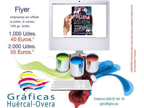 1000 ó 2000 flyers offset, ambas caras a todo color, por 40 Euros! Industrias Gráficas Huércal-Overa