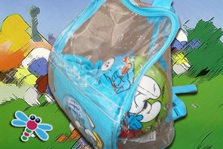 Mochila de los Pitufos con balón y poncho para playa/piscina por 12€ en Juguetes Fantasía de Huercal Overa