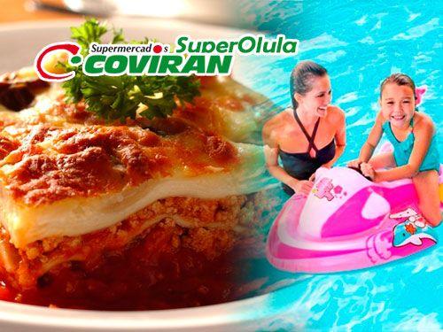 Lasaña 1kg + Moto de Agua hinchable en Super Olula Covirán, supermercados en Olula del Río