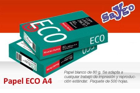 Papel Blanco A4 80gr de buena calidad por 2.65€/500hojas en vez de 3.80€ en Papelería Saygo