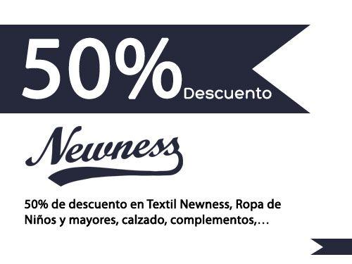 50% de descuento en Textil Newness de Albox y Centro Comercial Almanzora de Olula del Río