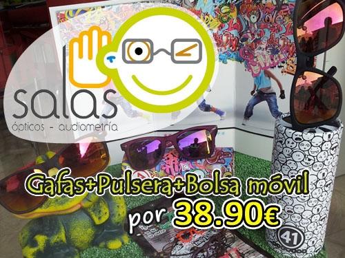 Gafas + Pulsera + Bolsa móvil por 38.90 euros en Salas Ópticos. Tu óptica en Huercal Overa