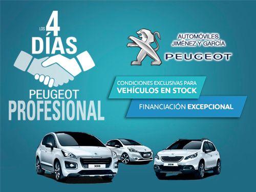 4 Días Peugeot Profesional. Grandes ofertas para turismos y comerciales. En tu concesionario Automóviles Jiménez y García-Peugeot de Albox. Financiación al 0% TAE