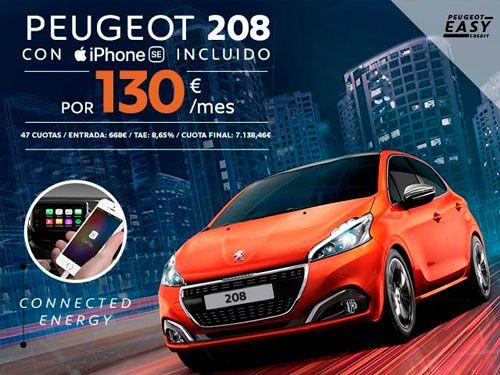 Peugeot 208 con iPhone SE incluido y 130€/mes. Automóviles Jiménez y Garcia-Peugeot de Albox